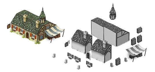 As an example, here is how the Inn is built, combining various elements to create a building that looks different from the regular town house, although it reuses most of its core elements.