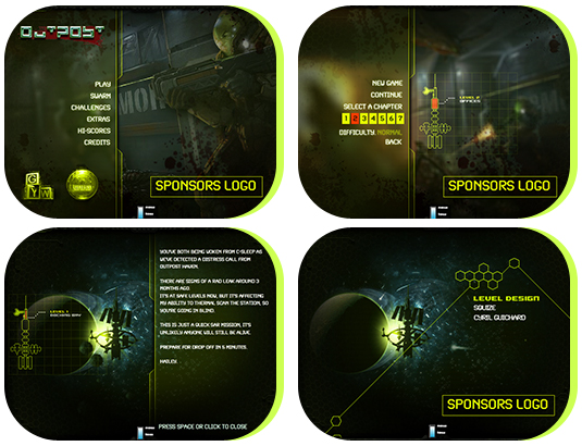 Splash page, Mission selection, Briefing and Credits pages