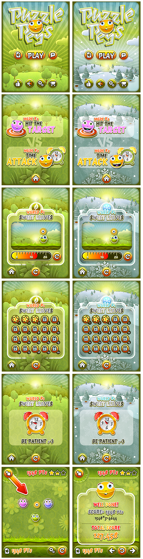Most of the game UIs, shown in both available environments