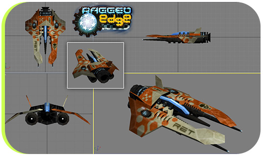 Another texture player ship (this one is the first originally designed, and visible in the various screenshots, at the end of this post)